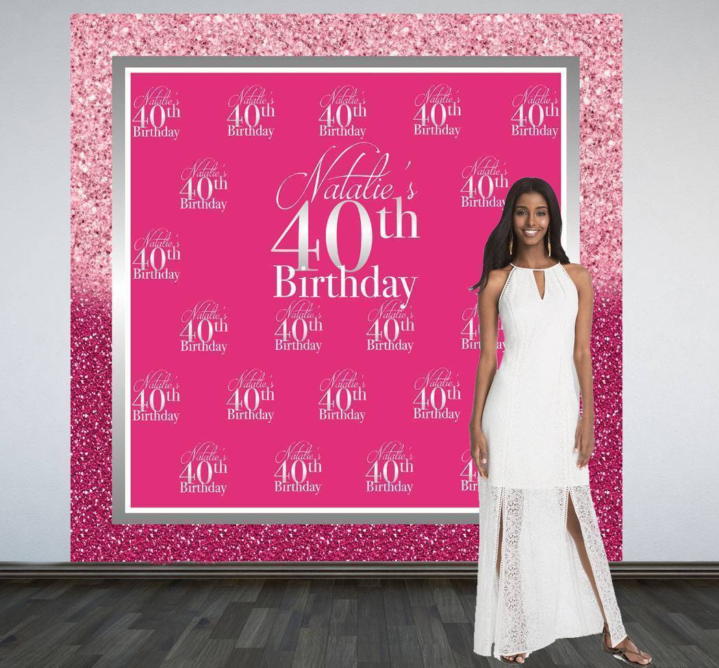 Pink Sparkle Birthday Photo Backdrop