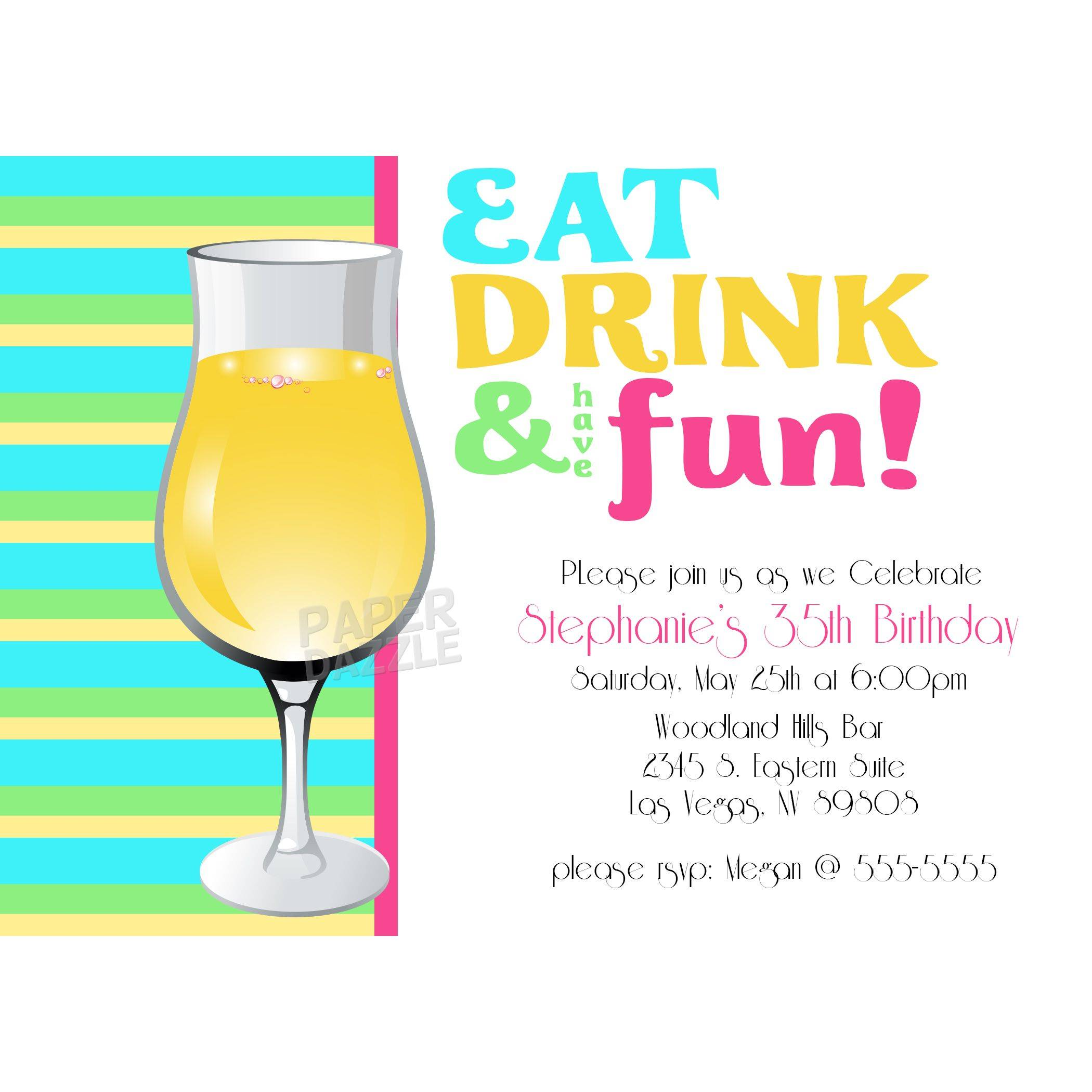 eat drink have fun party invitations