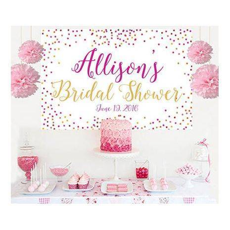 bridal shower surprise cake table backdrop