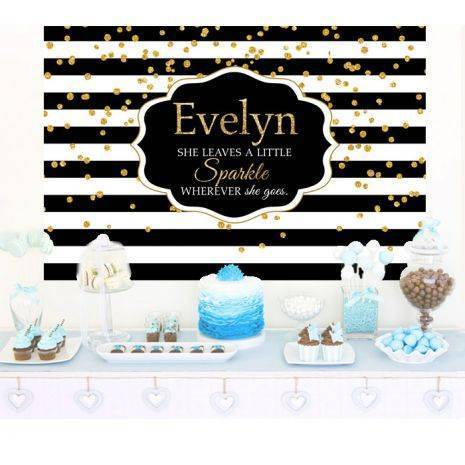 Black And White Stripes Sparkle Cake Table Backdrop