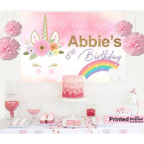 Blushing Unicorn Cake Table Backdrop