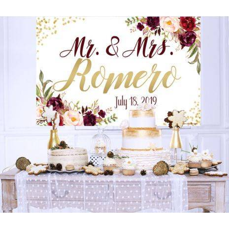 Wedding Marsala Floral Cake Table Backdrop