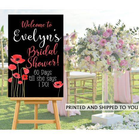 Wedding Welcome Sign.Red Poppy Wedding Welcome Sign