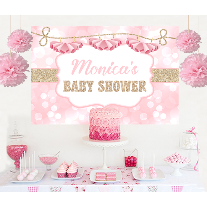 tutu glitter baby shower backdrop